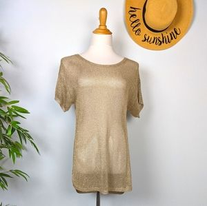Michael Kors Gold Mesh Short Sleeve Knit Top M